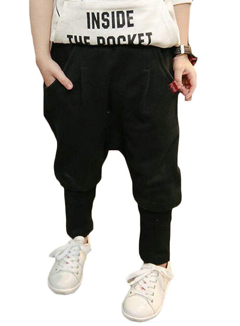 Cromoncent Boys Harem Sweatpants Low Crotch Cute Slim Fit Pants