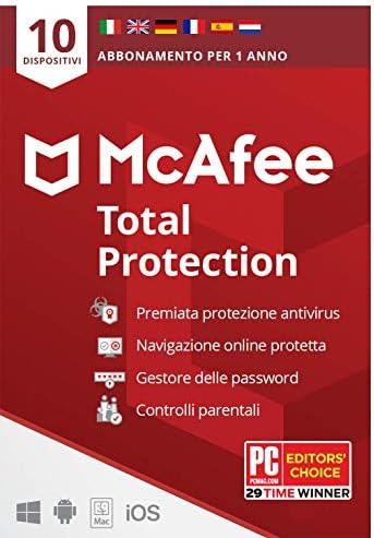 McAfee Total Protection 2021, 10 Dispositivi, 1 Anno, Software Antivirus, Gestore delle Password, Sicurezza Mobile, Multi-Dispositivo PC/Mac/Android/Ios, Edizione Europea, Codice Attivazione via Posta