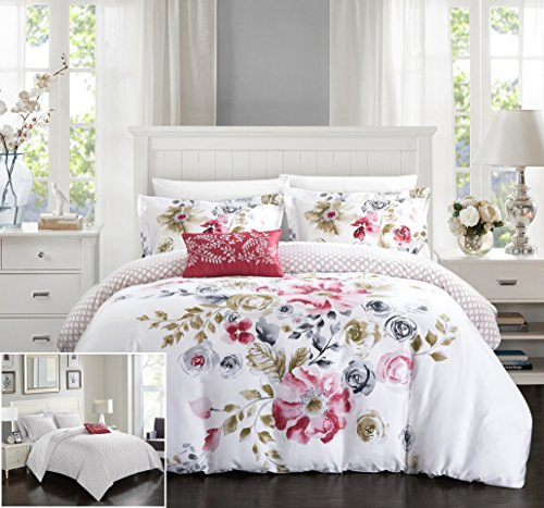 Chic Home 4 Piece Enchanted Garden Reversible Floral Print and Geometric Patterned Technique King Duvet Cover Set (Enchanted Duvet Cover Set)
