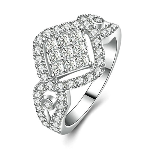 [Women Wedding Rings Silver Plated ?Cubic Zirconia?Rhombus Personalized Rings Custom Made Size 8 by] (Holiday On Ice Costumes For Sale)