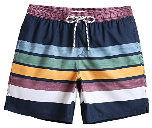 MaaMgic Mens Quick Dry Striped Swim Trunks With Mesh Lining Swimwear Bathing Suits, Navy Blue, -