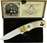 Miscellaneous George Washington Masonic Folding Knife,3in,Drop Point Blade,Smooth White KN-1471GW