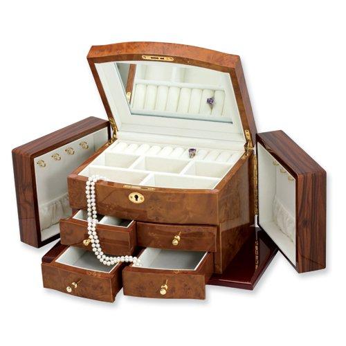 Blonde Burlwood, Walnut, and Dark Oak Finish Jewelry Box
