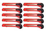 Box Cutter Utility Knife Tool with breakaway Retractable Snap off razor blade x10 RED