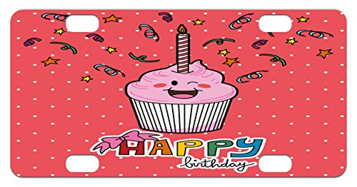 Birthday Mini License Plate by Ambesonne, Pink Strawberry Flavor Cupcake with Candle Cute Face Confetti Bow Tie and Dots, High Gloss Aluminum Novelty Plate, 2.94 L x 5.88 W Inches, Multicolor (Interesting Cupcake Flavors)