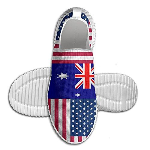 Ägg Ägg Oss Australien Flagga Kvinna Man Loafers Löparskor Andas Mesh Utomhus Sport Promenadskor Vita