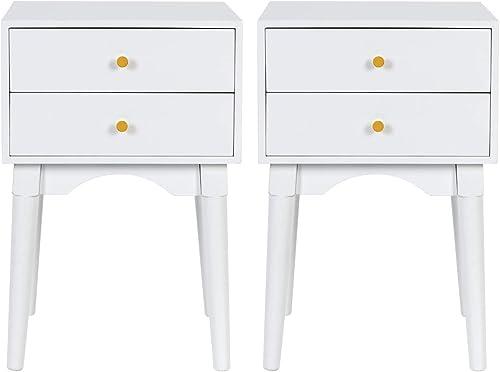 White Nightstands Set of 2