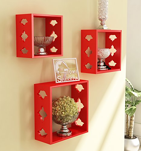 Home Sparkle Wooden Wall Shelf | Cube Design Wall Mounted Shelves for Living Room  Red