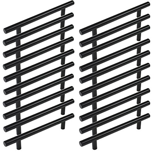Cc Pull Flat Bar (Probrico Flat Black Modern Cabinet Hardware Drawer Handle Kitchen Cupboard T Bar Pull Dresser Knobs Set - 5 Inch Hole to Hole Spacing - 20 Pack)