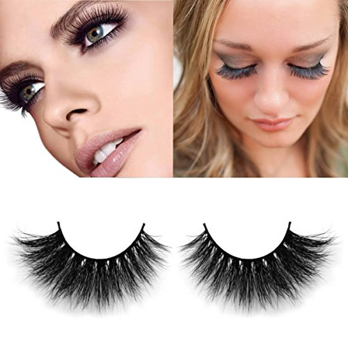 Exotic 100% Hand-Made 3D Mink Fur Fake Eyelashes + Waterproof! | Halloween, Dress Up, Costume | Women's Makeup False Lashes 3D Style 1 Pair