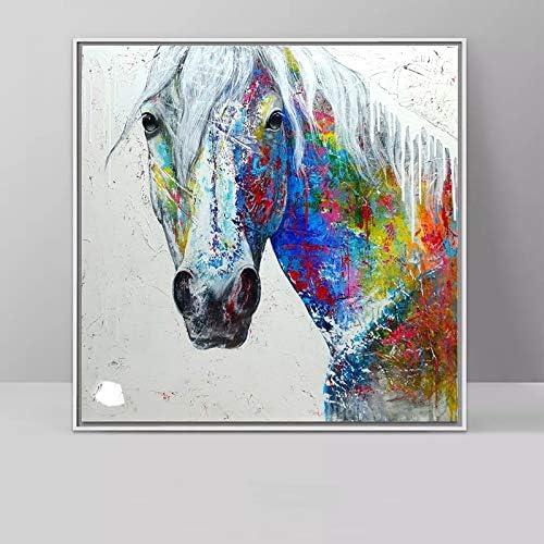 KGKBH 1 Foto Graffiti Art Horse Paintings Cuadros Coloridos de Cabeza de Caballo para Sala de Estar Arte de Pared Animal Impresiones Decorativas 60x60CM