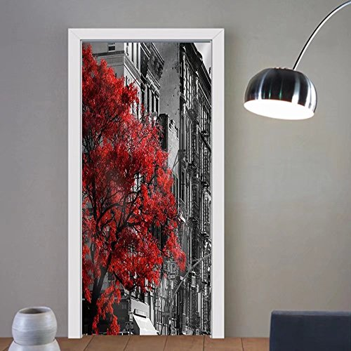 Niasjnfu Chen custom made 3d door stickers Red Fall Tree in Black and White Nyc Street Scene on 2nd Avenue in the East Village of Manhattan New York City Fabric - Ga Avenue The