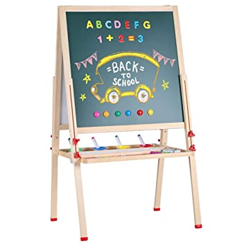 3 in 1 Kids Learning Easel Stand Chalkboard Magnetic Double Black//Withe Gift New
