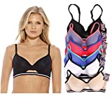 Just Intimates Bras for Women – Petite to Plus Size/ Full Figure (Pack of 6) – 32B, Animal Print Jacquard Sports Elastic