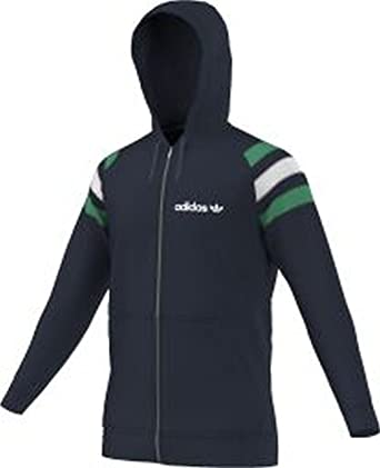 6680a796a6d6 adidas Originals Men s Fitted Full Zip Up Hoodie - Navy - Small ...