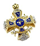 Silver 925 Gold 18k Plated Jerusalem Cross Pendant Blue Enamel With Crystallized Elements 1.9''