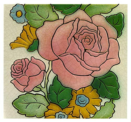 - Art Nouveau Big Pink Rose Greeting Card - Blank Inside - 6.5 x 6 Inches