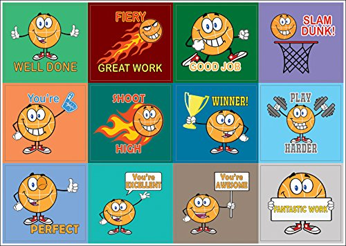 Creanoso Motivational Basketball Sport Series Stickers - 10 Sheets – Positive Encouraging Words Sticky Decal for Boys, Girls, Kids, Teens, Friends – Essential Assorted Collection Set