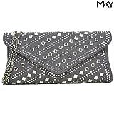 Studded Rhinestone Clutch Purse Evening Bag Crystal Handbag Glitter Sequin Party