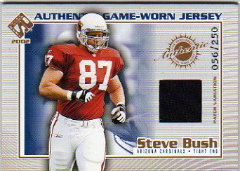 2002 Private Stock Game Jerseys Patches #2 Steve Bush Game-Worn Jersey Card Serial #'d/250