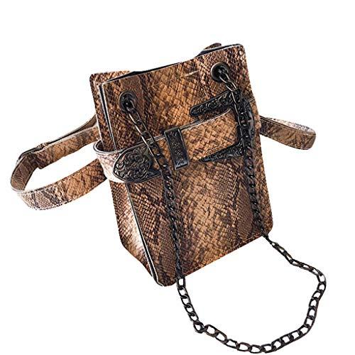 PU Leather Crossbody Bags Women Retro Snake Skin Print Shoulder Messenger Shoulder Bag Waist Purse Chain Handbags (Brown)