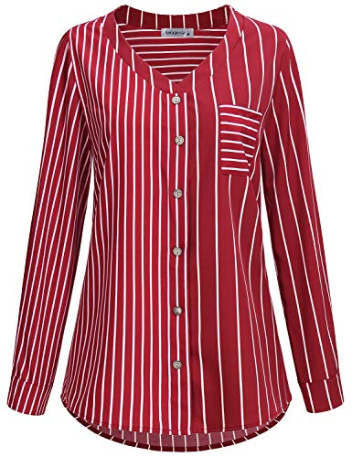 MOQIVGI Chiffon Tops for Women,Red Striped Shirt Classy Elegant Curved Hem Button Down Professional Office Blouses for Work Fancy Cuff Long Sleeve Vneck Dressy Misses Tunics Loft Clothing Large ()