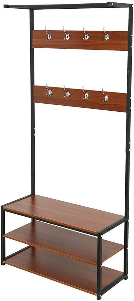 Entryway Coat Shoe Rack,Free-Standing Closet Organizer Entrance Channel Storage Rack Multi-function Hooks Rack 66.9/×31.5/×12.6in, Brown