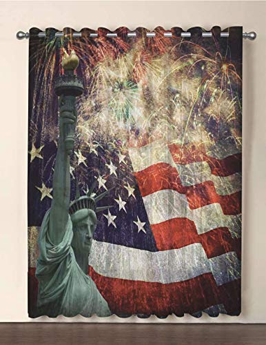 iPrint One Panel Extra Wide Sheer Voile Patio Door Curtain,American Flag Decor,Composite Photo of States Idols with Fireworks on Background 4th of July,Multi,for Sliding Doors(108