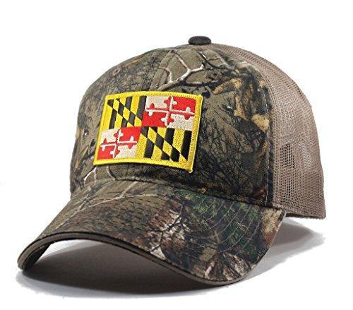 Homeland Tees Men's Maryland Flag Patch Camo Trucker Hat - Realtree (Maryland Camo Hat)
