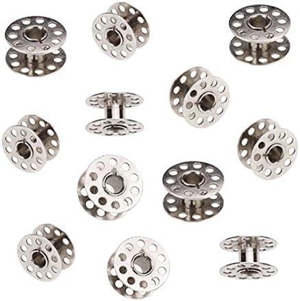 PIXNOR - 10 bobinas giratorias de metal para máquina de coser doméstica, color plateado