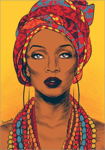 Posterlounge Acrylic print 30 x 40 cm: African tribal woman by Paola Morpheus