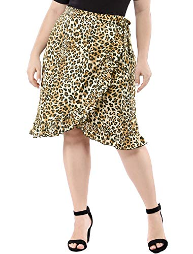 Agnes Orinda Women's Plus Size Midi Skirts Wrap Ruffle Hem Tie Waist Leopard Skirt Brown 3X