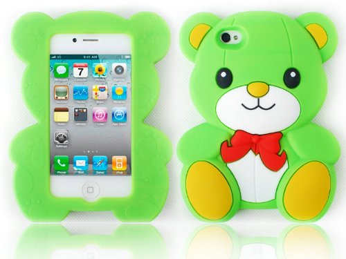 HJX Green Iphone 5 Cute 3D Big Teddy Bear Hybrid Silicone case cover for Apple Iphone 5 & 5G + Gift 1pcs Insect Mosquito Repellent Wrist Bands bracelet