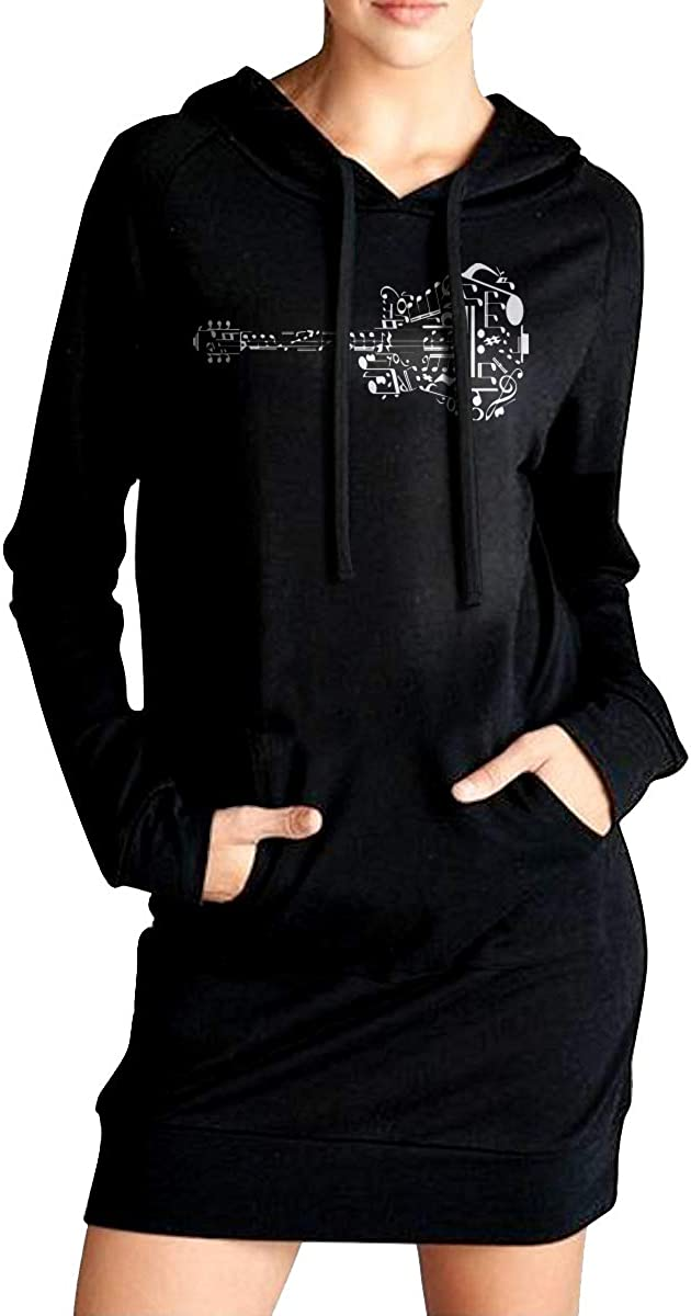 NVWEIYIJW Guitar Music Notes Womens Pullover Fleece Long Hoodie Dress Outer Jacket with Kanga Pocket