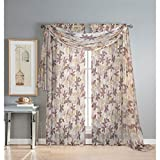 Window Elements Ashville Printed 216 x 54 in. Sheer Curtain Scarf, Chocolate
