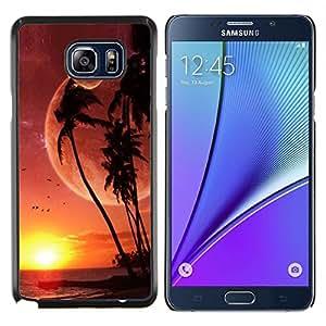 Caucho caso de Shell duro de la cubierta de accesorios de protección BY RAYDREAMMM - Samsung Galaxy Note 5 5th N9200 - Isla Sci Fi Paraíso Doble Luna