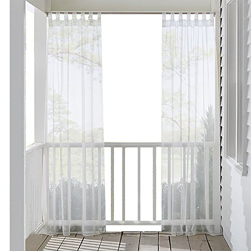 RYB HOME Outdoor Indoor Voile Drape Panels Mildew Resistant Water Repellent Polyester Silver Tab Top Sheer Curtains For Porch, White (Curtains Outdoor Indoor)