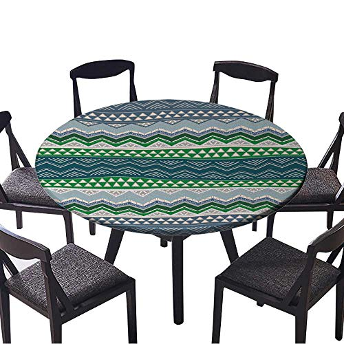 Picnic Circle Table Cloths Boho Style Seamless Pattern Hand Drawn Aztec Wallpaper. for Family Dinners or Gatherings 59