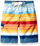 Kanu Surf Big Boys' Victor Stripe Quick Dry Beach Board Shorts Swim Trunk, Navy/Orange, X-Large (18/20)