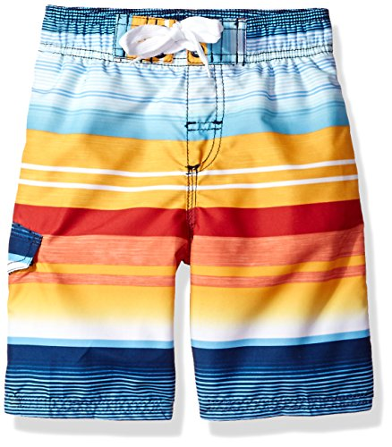 Kanu Surf Little Boys' Victor Quick Dry Beach Swim Trunk, Navy/Orange, Medium (5/6) (Boys Microfiber Cargo Pants)