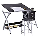 Drafting Table Art & Craft Drawing Desk Art Hobby Folding Adjustable w/ Stool-GE0006