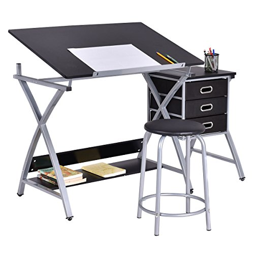 Drafting Table Art & Craft Drawing Desk Art Hobby Folding Adjustable w/ Stool-GE0006 by Golden Bag