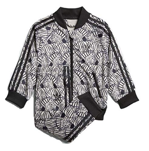 adidas Originals Toddler Girls' Zebra Superstar SST Track Suit(Clear Brown/Black, - Velour Jacket Black Zip