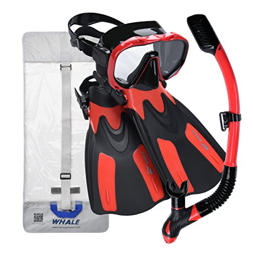 Whale Dive Mask Fin Size Adjustable Snorkel Set New Brand with Snorkeling Gear Bag for Both Men & Women Diving Gear