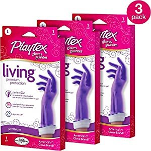 Playtex Living Reusable Rubber Cleaning Gloves, Large (Pack – 3)