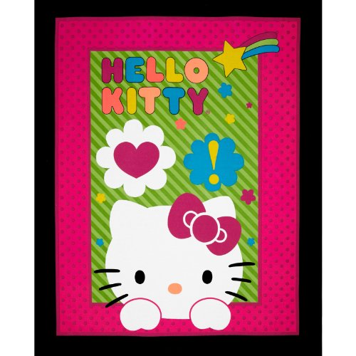 Sanrio Hello Kitty Neon Expressions OL Panel Pink/Black Fabric