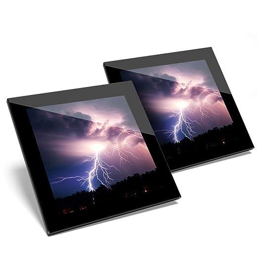 Impresionante juego de 2 posavasos de cristal - Thunder Lightning ...