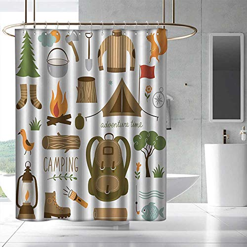 Adventure Shower Curtain Camping Equipment Sleeping Bag Boots Campfire Shovel Hatchet Log Artwork Print Fabric Shower Curtain Bathroom W55 x L86 Multicolor ()