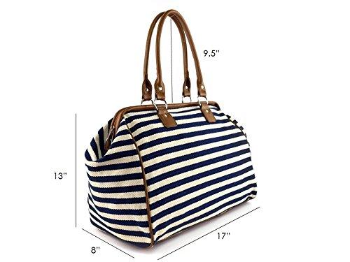 Classic Nautical Stripe 17'' Framed Duffel Bag Carry On Shoulder Tote Handbag by Tara's Travelers (Image #5)
