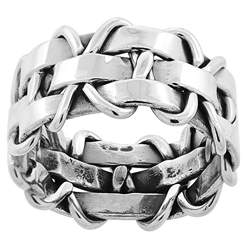 Sterling Silver Basket Weave Ring for Women Handmade 3/8 inch wide size 8